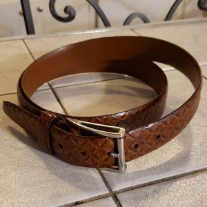 Johnston & Murphy Brown Embossed Leather Belt 42